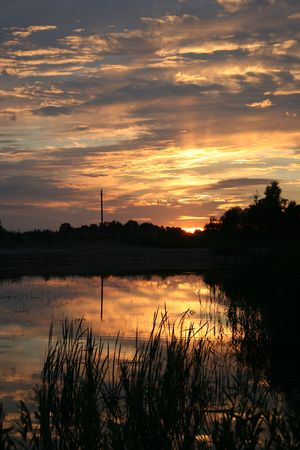 Sunset reflections photo