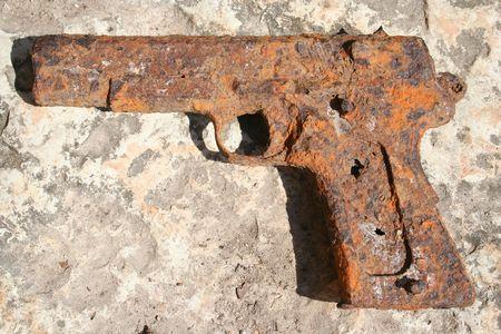 Old rusty gun from world war II Stock Photo