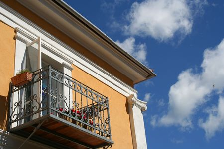 Balcony of a classicist house in Estonia Stock Photo