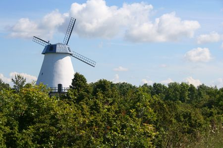 Old windmill in Estonia Stock Photo
