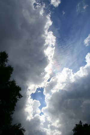 diffraction: A rare sight: iridescent clouds. Diffraction can make clouds shine with colors like a corona.