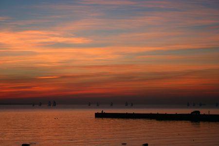Sunset at a quai
