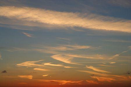 cirrus: Cirrus clouds at sunset Stock Photo