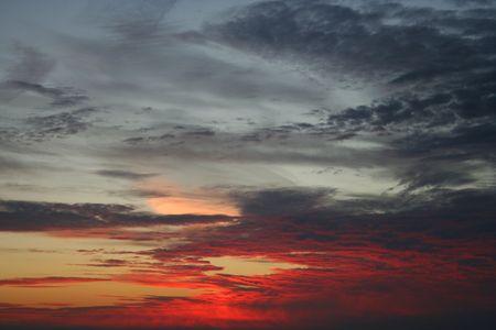 altocumulus: Altocumulus clouds at sunset Stock Photo