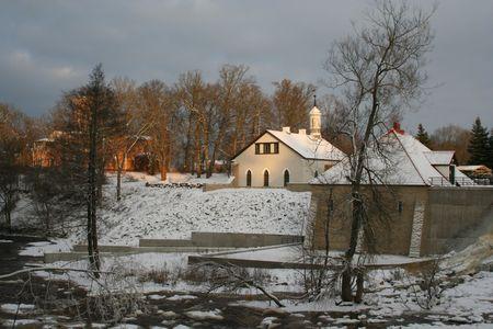 Winter scene in a village in Estonia