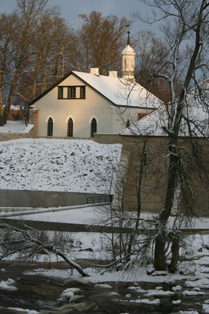 Winter scene in a village in Estonia