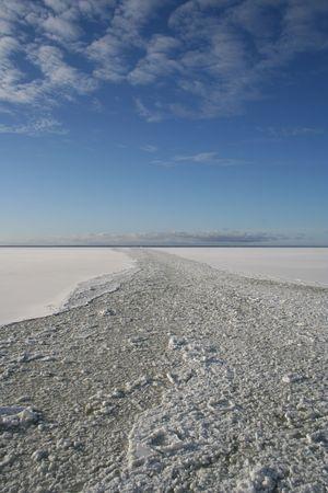 Path of an icebreaker