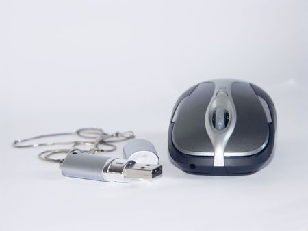 The image of the computer mouse and flash on a homogeneous background