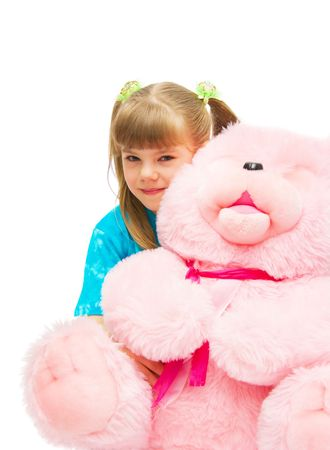 the Image of the girl embracing the big pink bear photo