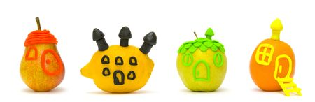 the Image of fruit in the form of small houses is moulded photo