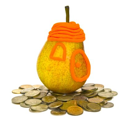 the Image of Pear on a heap of coins Stock Photo - 4751574