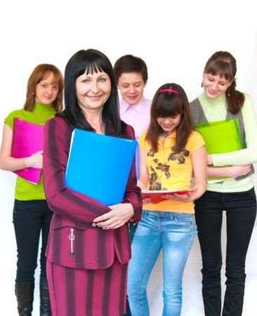 The image of casual teacher and her students over white photo