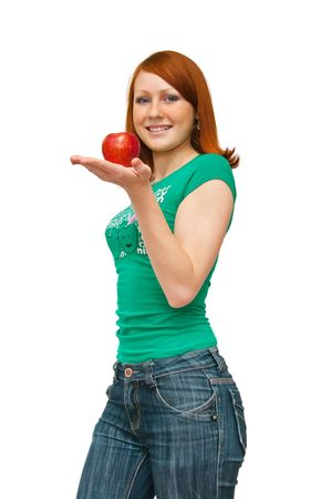 The image of the girl holding an apple photo