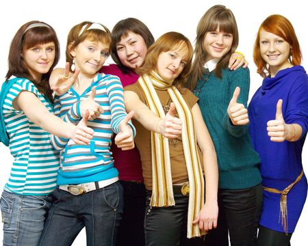 Diverse group of happy girls. Over White Stock Photo - 4886980
