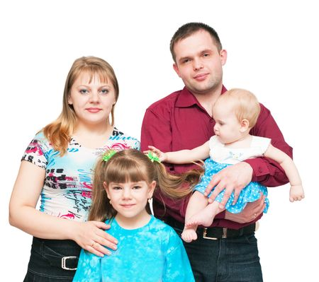 Young family with two daughters photo