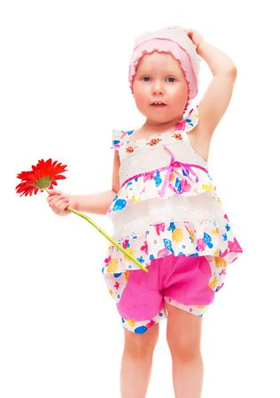 The image of the little girl with a flower on a white background. photo