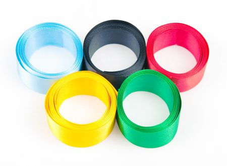 The image of satiny tapes in the form of sports competition rings Stock Photo - 6278048