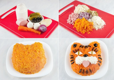 The image of stages of preparation of a dish photo