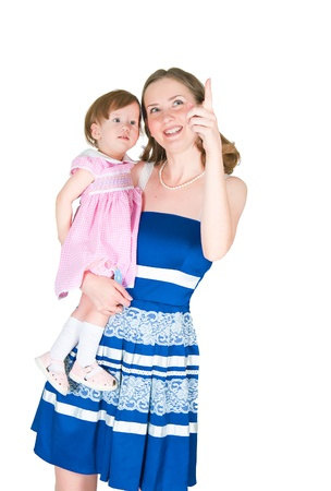 The image of mum and the daughter on a white background Stock Photo - 9715856