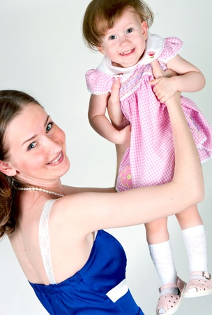 The image of mum and the daughter on a white background Stock Photo - 9806798