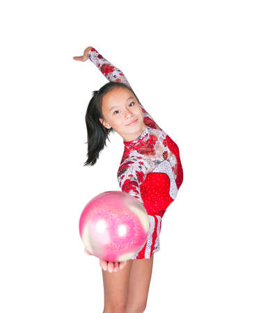 Beautiful Asian girl gymnast with a ball on white background Stock Photo - 10731632
