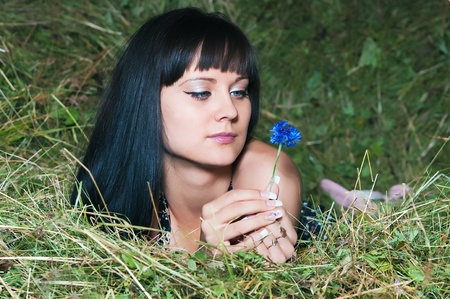 hayloft: The young woman relaxing on hayloft Stock Photo