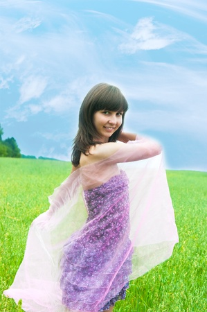 palatine: The image of the beautiful girl on a meadow Stock Photo