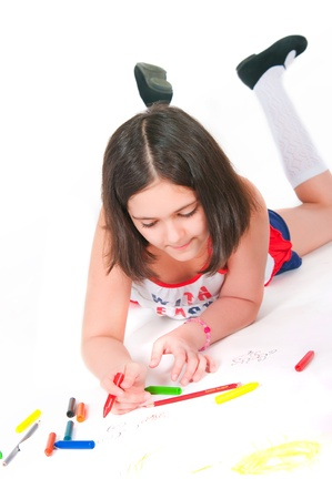 10 years girls: The image of girl lying draws white background