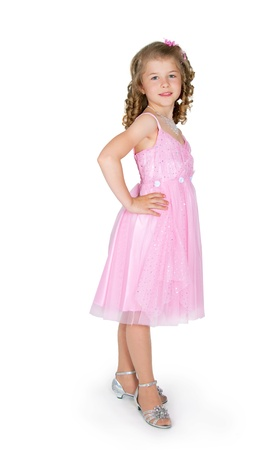 teenage girl dress: The girl in a pink dress on a white background