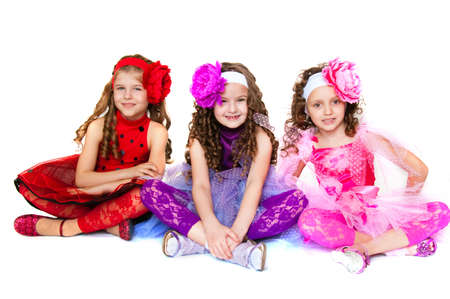 The image of three girls on a white background photo