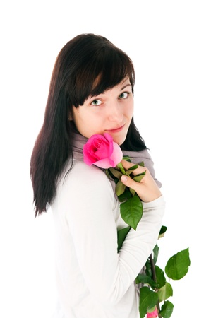 The image of the young woman with a rose on a white background Stock Photo - 12306347