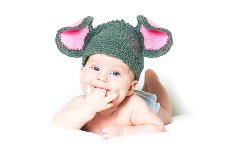 girl in full growth: The amusing kid - a little mouse on a white background