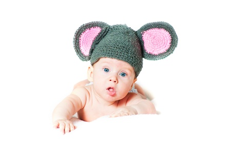 The amusing kid - a little mouse on a white background photo