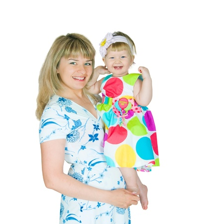 The image of mum and the daughter on a white background photo