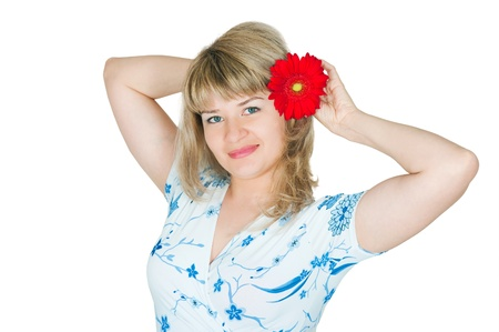 The image of the girl with a flower in hair photo