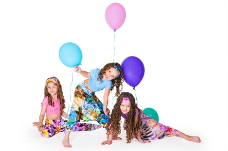 Girls with balloons on a white background photo