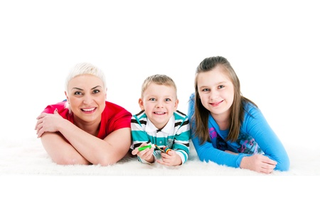 Young mother with two children on a white background Stock Photo - 13667962