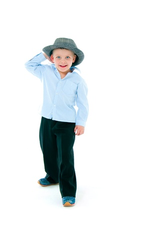 boy in a hat on  white background photo