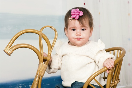 12 18 months: The image of the little girl on a horse rocking chair