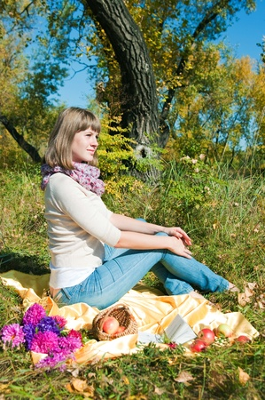vacationer: Image of the girl of the vacationer outdoor Stock Photo