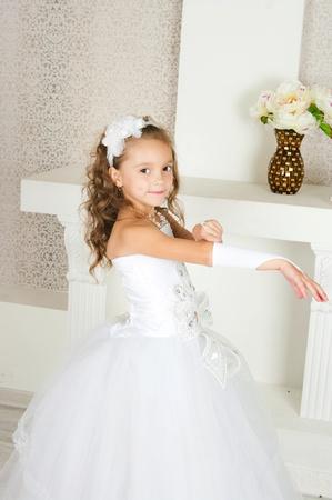 swarty: elegant girl in a white ball dress