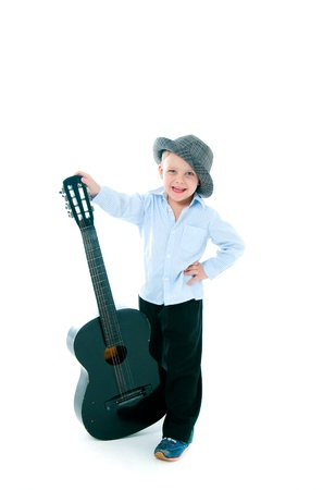 gitar: boy in a hat on  white background with gitar