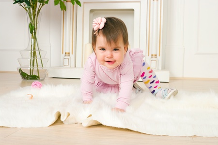 12 18 months: The image of the little girl in a pink dress