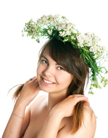 The girl with yarrow wreath on the head on a white background Stock Photo - 17686872
