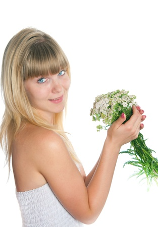 The girl with flowers on a white background Stock Photo - 17993091