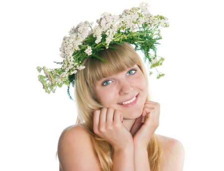 The girl with yarrow wreath on the head Stock Photo - 17993079