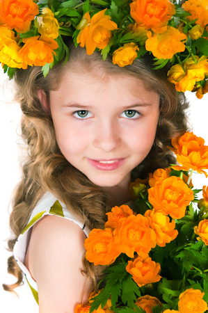 6 9 years: Image of the beautiful girl and wild flowers