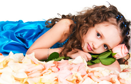 elementary age girls: The dreaming princess with a pink rose