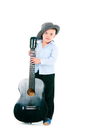 gitar: boy in a hat on  white background with gitar