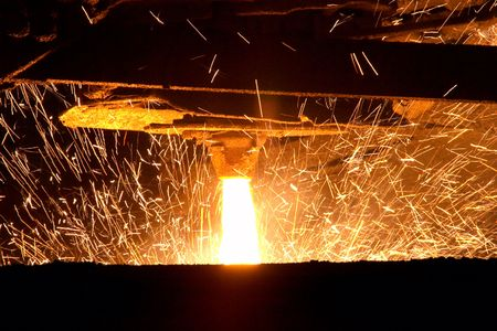 Molten steel pouring photo